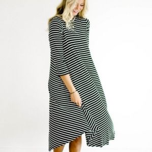 Roolee striped midi swing dress